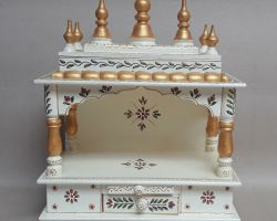 Wooden temple for home painted wood temple ghar ka mandir code 1