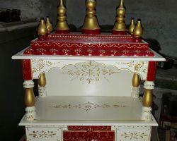 Wooden temple for home painted wood temple ghar ka mandir code 2