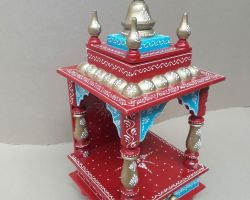 Home temple wooden home temple painted multicolored