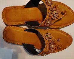 Camel leather sleeper ladies jaipur chappal code 5