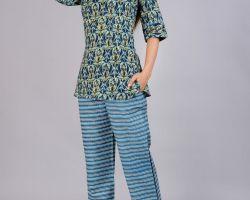 Cotton night suit night dress hand block print code 1