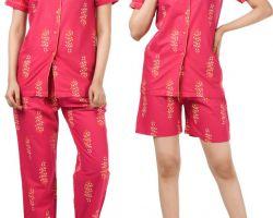 Night dress 3 piece cotton night suit red print