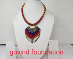 Thread and brass necklace handmade thread necklace with baras