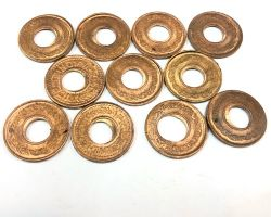 Copper coin set hole coin of copper set of 5