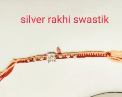 Silver rakhi swastik design chandi ki rakhi