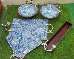 Serving platter with bowls blue enameled