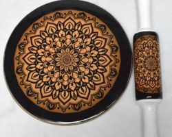Chakla belan marble handcrafted pastry board and roller pin black