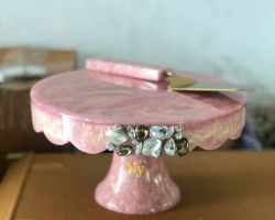 Cake platter cake plate with knife pink colour