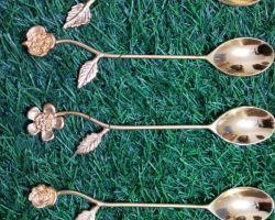 Designer spoon set brass gold coated spoon set of 6