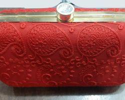 Clutch purse handmade women clutch red golden