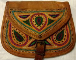 Camel leather bag with hand embroidery fashion