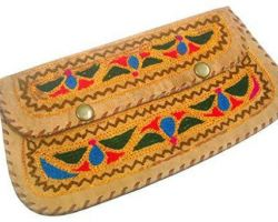 Camel leather clutch bag with embroidery hand embroidery work on camel leather clutch bag