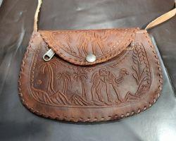 Camel leather bag small size shoulder cum hand bag