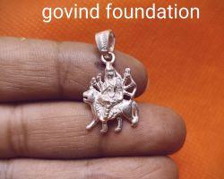 Durga silver locket durga silver pendant