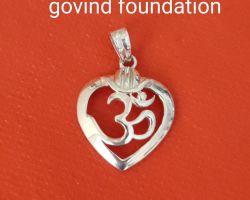 Silver om locket heart shape om locket pendant