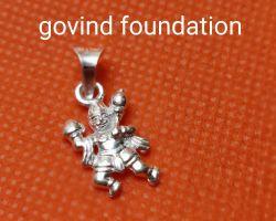 Silver Hanuman locket holding mountain silver Hanuman pendant
