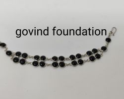 Black Onyx silver bracelet double layer