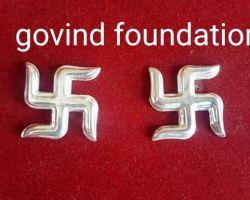 Silver swastik chandi ka swastik set of 2