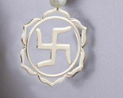 Silver swastik pendant silver swastik locket in round shape