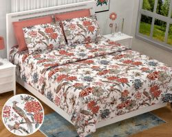 Bedsheet cotton printed double A bed bedsheet floral 100×108 Nandini
