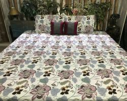 Cotton printed bedsheet double bed king size floral printed bedsheet mandakini