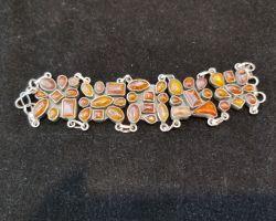 Stone bracelet broad style orange sunstone bracelet