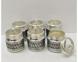 Silver jar set silver small jar container with lid set of 6 silver gift box