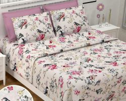 Bedsheet cotton double bed printed king size 108×108 inches Nandini bird