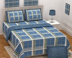 Bedsheet cotton double bed check king size 108×108 inches