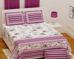 Bedsheet cotton double bed pink stripe pillow covers Nandini 108×108 inches