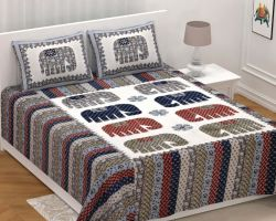 Bedsheet cotton double bed king size elephant design 100×108 inches