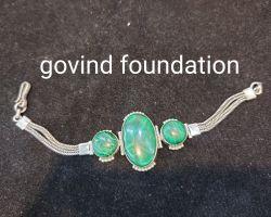 Green onyx silver bracelet green onyx bracelet with silver chain