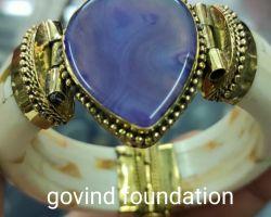 Camel bone kada with purple stone bone bangle with purple stone