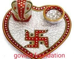 Marble Pooja thali with ganesh idol