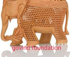 Wooden elephant sculpture wooden cut work hand carved elephant 8 inches