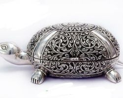 Silver tortoise box silver box in tortoise design
