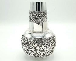 Silver water pot with glass pure silver kalash with glass