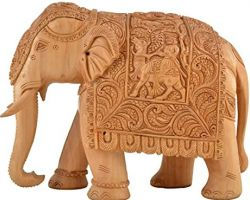 Wooden carved elephant statue wooden elephant sculpture handcarved 8 inches