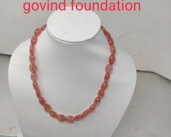 Carnelian stone necklace cherry peach colour stone necklace