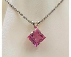 Ruby pendant with silver chain square
