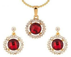 Ruby pendant earrings set with zircon and silver