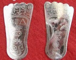 Pure silver charan paduka silver laxmi charan paduka 2.5inches