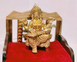 Brass saraswati idol 3 inches pure brass saraswati murti