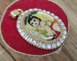 Kanha locket glass framed with zerkin bal krishna locket