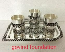 Silver glass with tray pure silver antique design 3 tumbler with tray