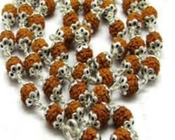 5 face rudraksh mala with silver cap