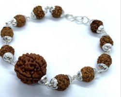 7 face rudraksh bracelet in silver cap