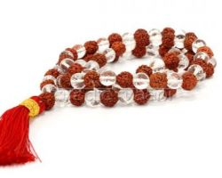 Rudraksh and sphatik mix mala  108 beads