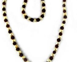 Mala Rudraksh with pearl moti 108 beads