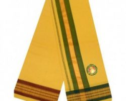 Men's Pooja dhoti yellow cotton 4.5 mt.